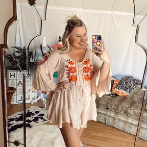 peachy orange embroidered Flowy romper